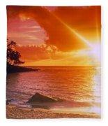 Lumahai Beach Sunset Fleece Blanket