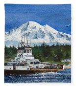 Lummi Island Ferry And Mt Baker Fleece Blanket