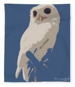 Luna The Rescued White Leucistic Eastern Screech Owl Abstracted Fleece Blanket