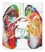Lungs And Heart Fleece Blanket
