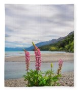 Lupin Flowers In Alpine Scenery At Kinloch, Nz. Fleece Blanket