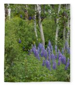 Lupine And Aspens Fleece Blanket