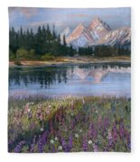 Lupines At Pilgrim Creek Fleece Blanket
