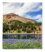 Lupines Lake And Lassen Fleece Blanket
