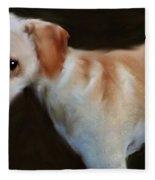 Lurcher Portrait  Fleece Blanket