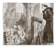 Luther Preaching In The Old Wooden Church At Wittemberg Fleece Blanket
