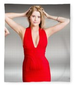 Luxury Female Fashion Model In Classy Red Dress Fleece Blanket