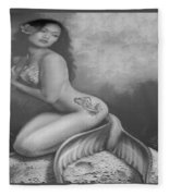 Lydia The Tattooed Mermaid In Black And White Fleece Blanket