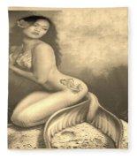 Lydia The Tattooed Mermaid In Sepia Fleece Blanket