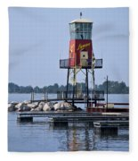 Lyman Harbor Lighthouse Fleece Blanket