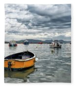 Lyme Regis Harbour - March Fleece Blanket