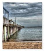 Lynnhaven Fishing Pier, Ocean Side Fleece Blanket