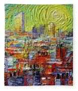 Lyon Sunrise Glow - Modern Impressionist Stylized Cityscape Fleece Blanket