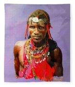 Maasai Moran Fleece Blanket