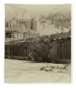 Mabel's Courtyard As Antique Print Fleece Blanket