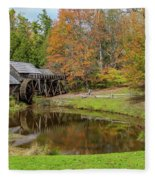 Mabry Mill In Fall 1 Fleece Blanket