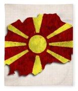 Macedonia Map Art With Flag Design Fleece Blanket