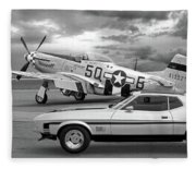 Mach 1 Mustang With P51 In Black And White Fleece Blanket