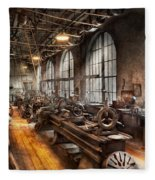 Machinist - A Room Full Of Lathes  Fleece Blanket