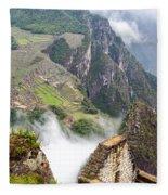 Machu Picchu And Fog Fleece Blanket