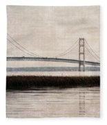 Mackinac Bridge Grunge Fleece Blanket
