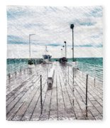 Mackinac Island Michigan Shuttle Pier Pa 02 Fleece Blanket
