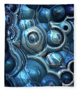 Macro 3d Blue Reflections Fleece Blanket