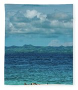 Madagascar, Nosy Be, Small Boat In Sea Fleece Blanket