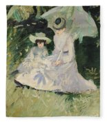 Madame Helleu And Her Daughter At The Chateau Of Boudran Fleece Blanket by Paul Cesar Helleu