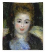 Mademoiselle Henriot Or Young Girl With A Blue Ribbon Fleece Blanket