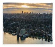 Madison Park And The Seattle Skyline Fleece Blanket