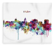Madison Skyline Silhouette Fleece Blanket