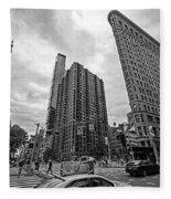 Madison Square Flatiron And Clock Tower New York Ny Black And White Fleece Blanket