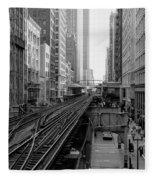 Madison St - Wabash Station - Chicago Loop Fleece Blanket
