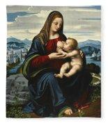 Madonna And Child Before A Landscape Fleece Blanket