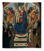 Madonna And Child Enthroned With Saints And Angels Fleece Blanket