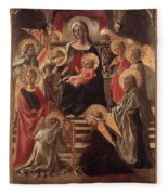 Madonna And Child Enthroned With Saints Fra Filippo Lippi Fleece Blanket