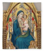 Madonna And Child Enthroned With Twelve Angels Fleece Blanket