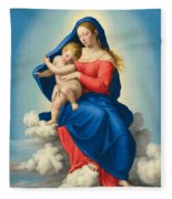 Madonna And Child In Glory Fleece Blanket