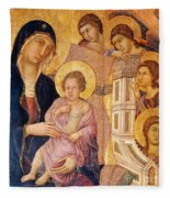Madonna And Child Surrounded By Angels Fleece Blanket