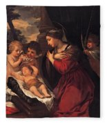 Madonna And Child With Child And Angles Fleece Blanket