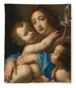 Madonna And Child With Saint John The Baptist Fleece Blanket