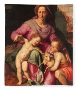Madonna And Child With The Infant Saint John The Baptist Fleece Blanket