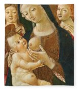 Madonna And Child With Two Angels Fleece Blanket