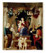 Madonna Del Baldacchino Raffaello Sanzio Da Urbino Raphael Raffaello Santi Fleece Blanket