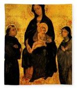 Madonna In Gloria Between Saint Francis And Santa Chiara Gentile Fleece Blanket