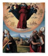 Madonna In Glory And Holy Hones Fleece Blanket