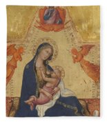 Madonna Of Humility The Blessing Christ Two Angels And A Donor Fleece Blanket