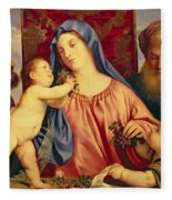 Madonna Of The Cherries With Joseph Fleece Blanket