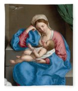 Madonna With The Infant Christ Child Holding A Goldfinch On A String  Fleece Blanket